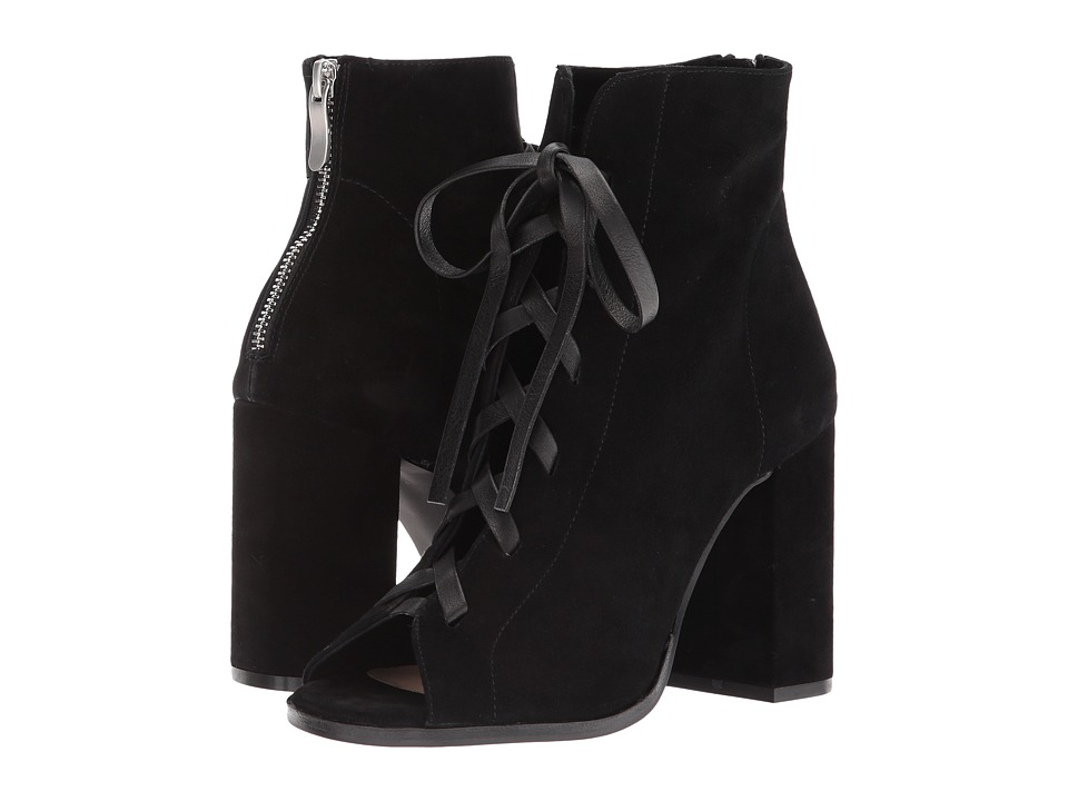 Kristin Cavallari Layton Peep Toe Bootie (Black Kid Suede) Women's Dress Boots