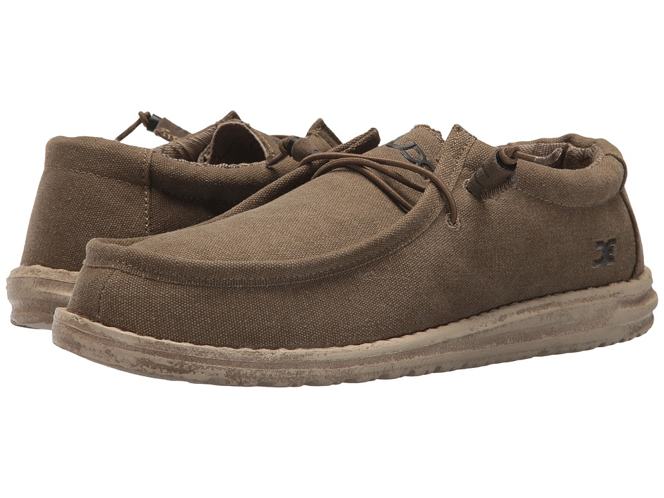 Hey Dude - Wally L Canvas (Olive) Mens Shoes