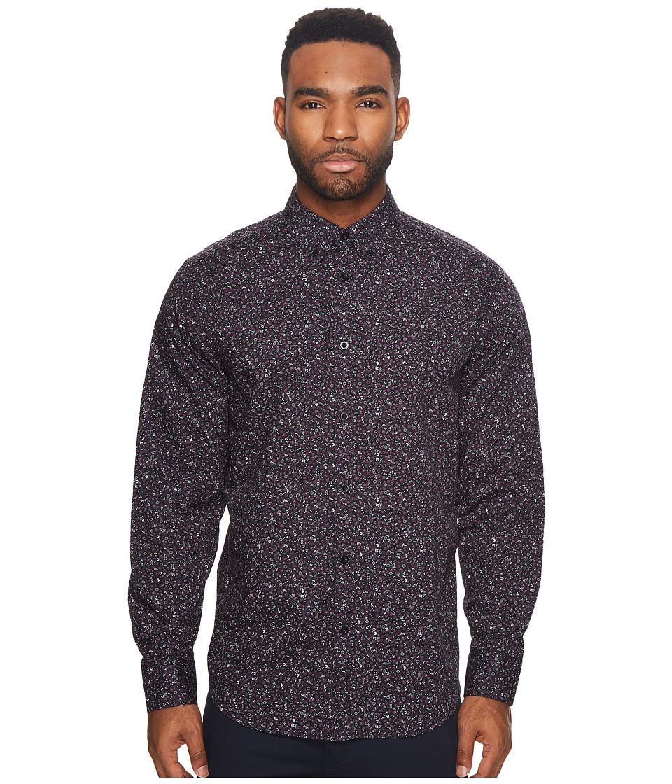 Ben Sherman Long Sleeve Floral Print Shirt (Black) Men's ...