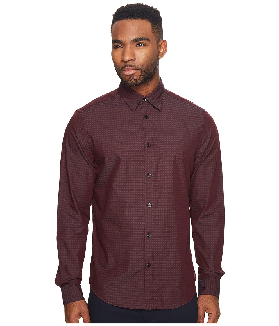 Ben Sherman Long Sleeve Dobby Checkerboard Shirt (Grape) ...