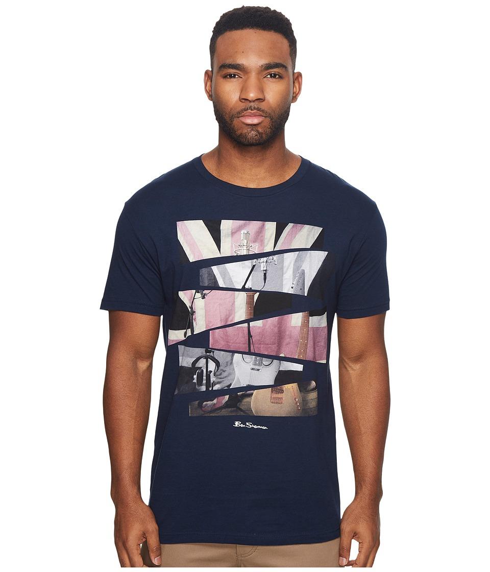 Ben Sherman Short Sleeve Union Jack Cut Up Graphic Tee (Midnight Navy) Men