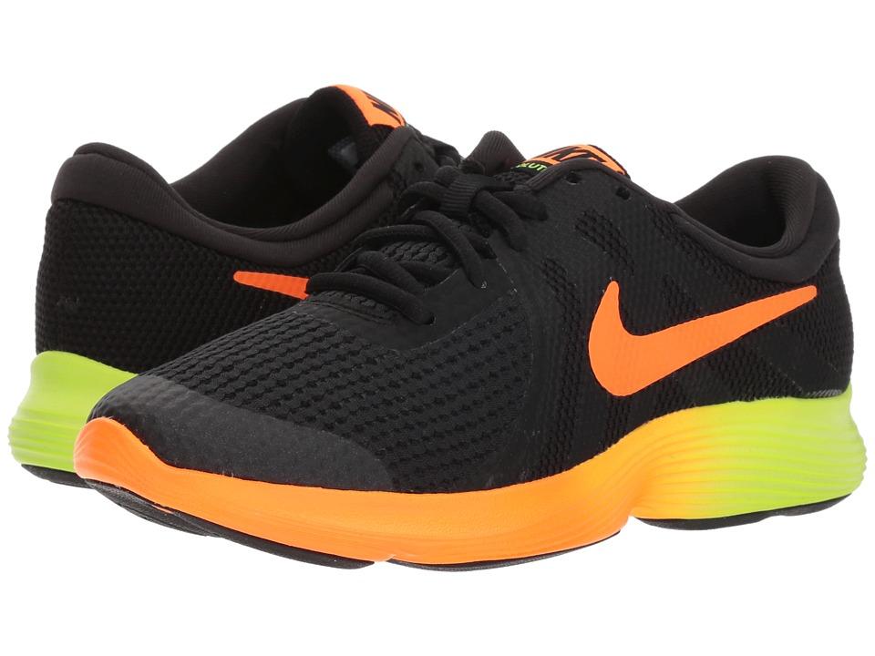 Nike Kids - Revolution 4 Fade (Big Kid) (Black/Total Orange/Volt/Black) Boys Shoes