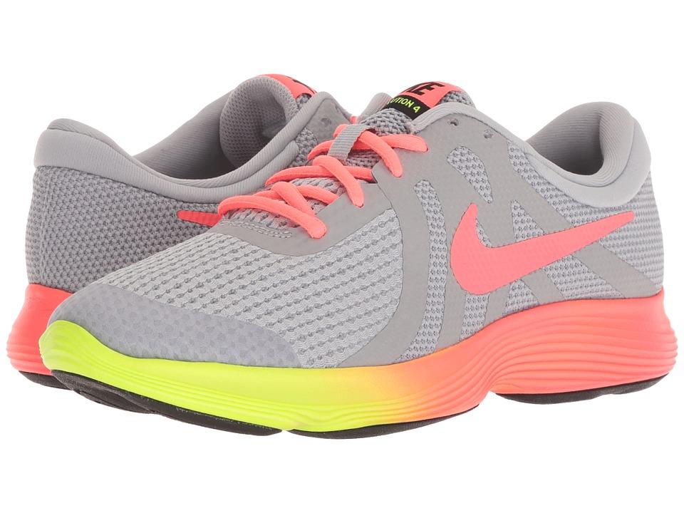 Nike Kids - Revolution 4 Fade (Big Kid) (Wolf Grey/Hot Punch/Volt/Black) Girls Shoes