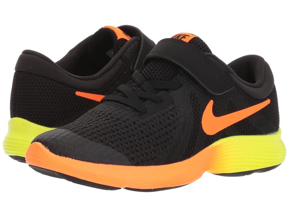 Nike Kids - Revolution 4 Fade (Little Kid) (Black/Total Orange/Volt/Black) Boys Shoes