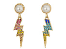 Betsey Johnson Pave and Pearl Lighting Bolt Earrings