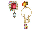 Betsey Johnson Multi and Gold Dog Non-Matching Earrings