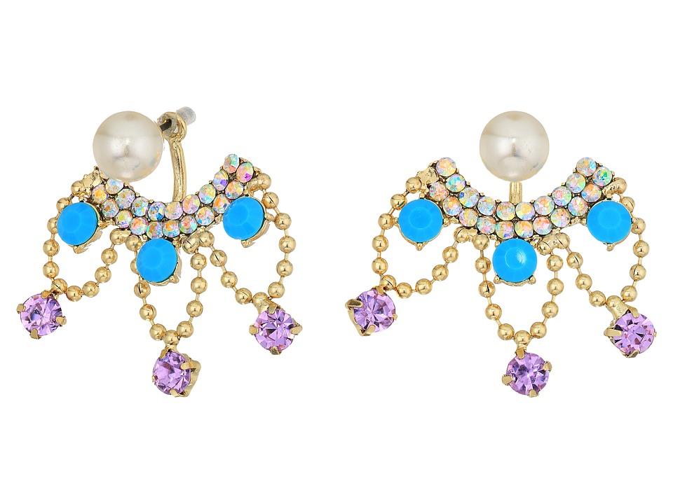 Betsey Johnson - Pearl and Rhinestone Front Back Earrings (Multi) Earring