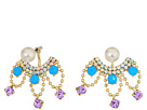 Betsey Johnson Pearl and Rhinestone Front Back Earrings