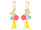 Betsey Johnson Bird and Multi-Colored Flower Drop Earrings