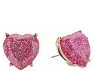Betsey Johnson Pink Sparkle Heart Stud Earrings