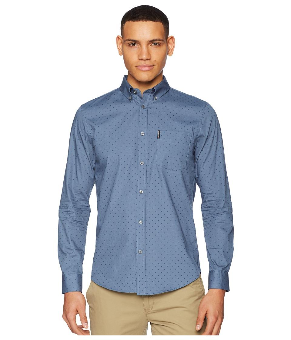 Ben Sherman - Long Sleeve Polka Dot Print Shirt (Blue Shadow) Mens Long Sleeve Button Up