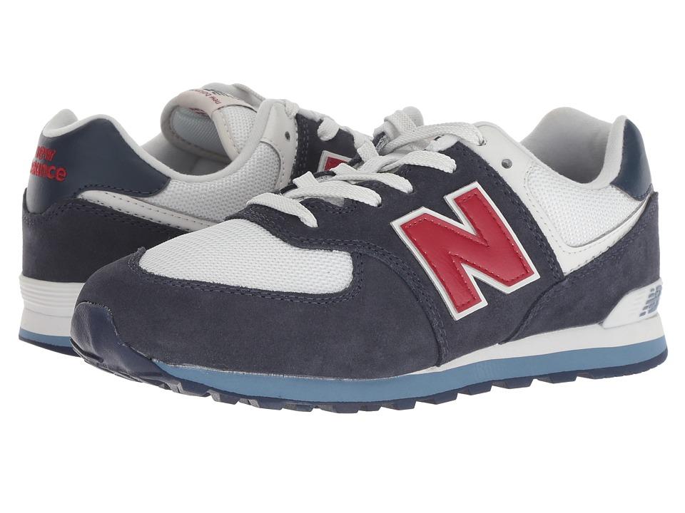 New Balance Kids GC574v1 (Big Kid) (Navy/Red) Kids Shoes