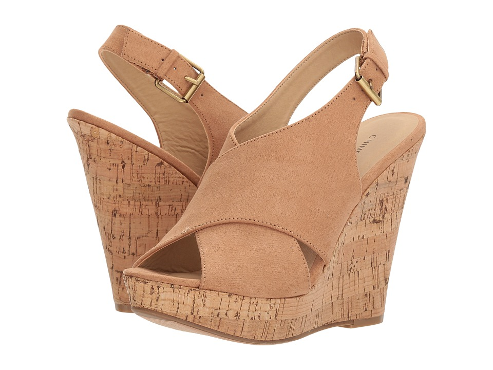 Chinese Laundry - Myya Wedge Sandal (Camel Microsuede) Womens Wedge Shoes
