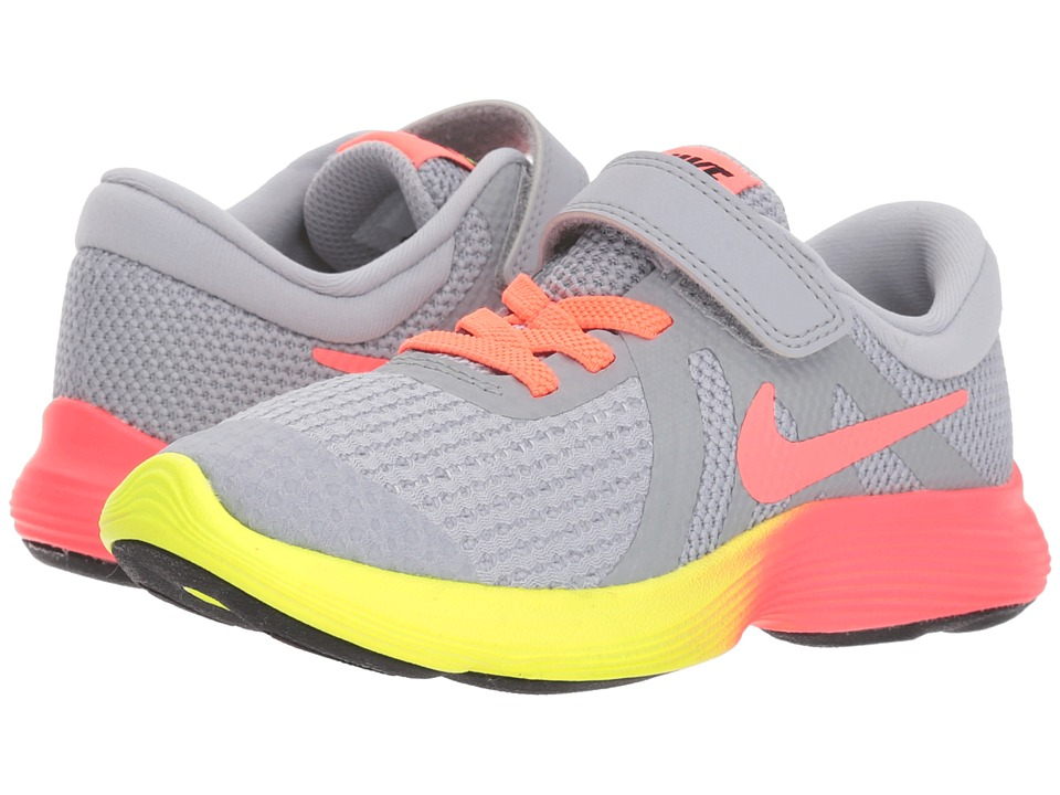 Nike Kids - Revolution 4 Fade (Little Kid) (Wolf Grey/Hot Punch/Volt/Black) Girls Shoes