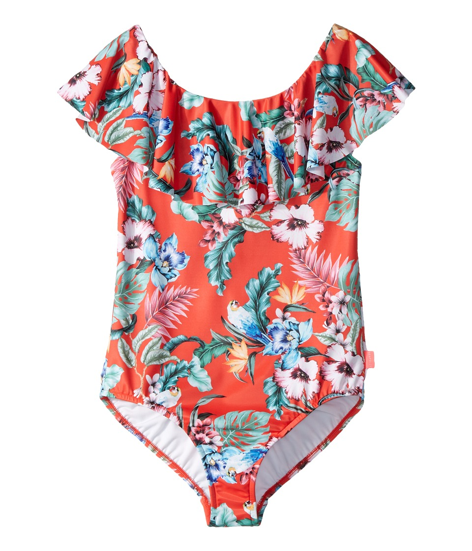 Seafolly Kids - Jungle Paradise Ruffle Tank One-Piece (Little Kids/Big Kids) (Hawaii Red) Girls Swimsuits One Piece