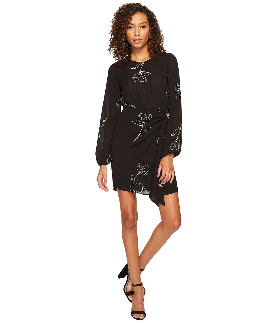 ASTR the Label Tie Skirt Long Sleeve Dress (Black Sketch Floral) Women