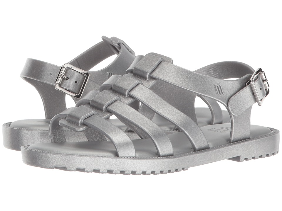 Mini Melissa - Mel Flox Shine (Little Kid) (Silver Metallic) Girls Shoes