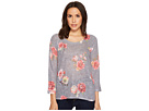 Nally & Millie Stripe Floral 3/4 Sleeve Sweater Top