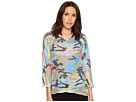 Nally & Millie Colorful Camoflauge 3/4 Sleeve Top