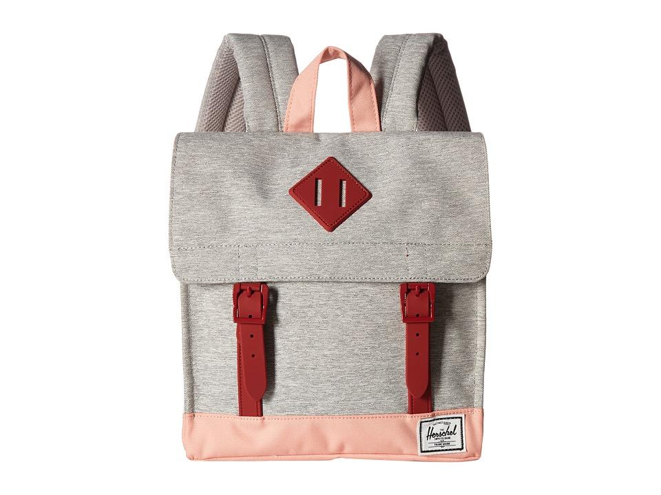 Herschel Supply Co. - Survey Kids (Light Grey Crosshatch/Peach/Brick Red) Backpack Bags