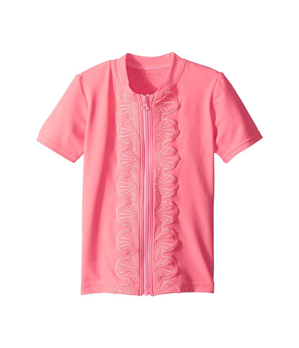 Seafolly Kids Sweet Summer Short Sleeve Zip Front Rashie (Infant/Toddler/Little Kids) (Rose Pink) Girl