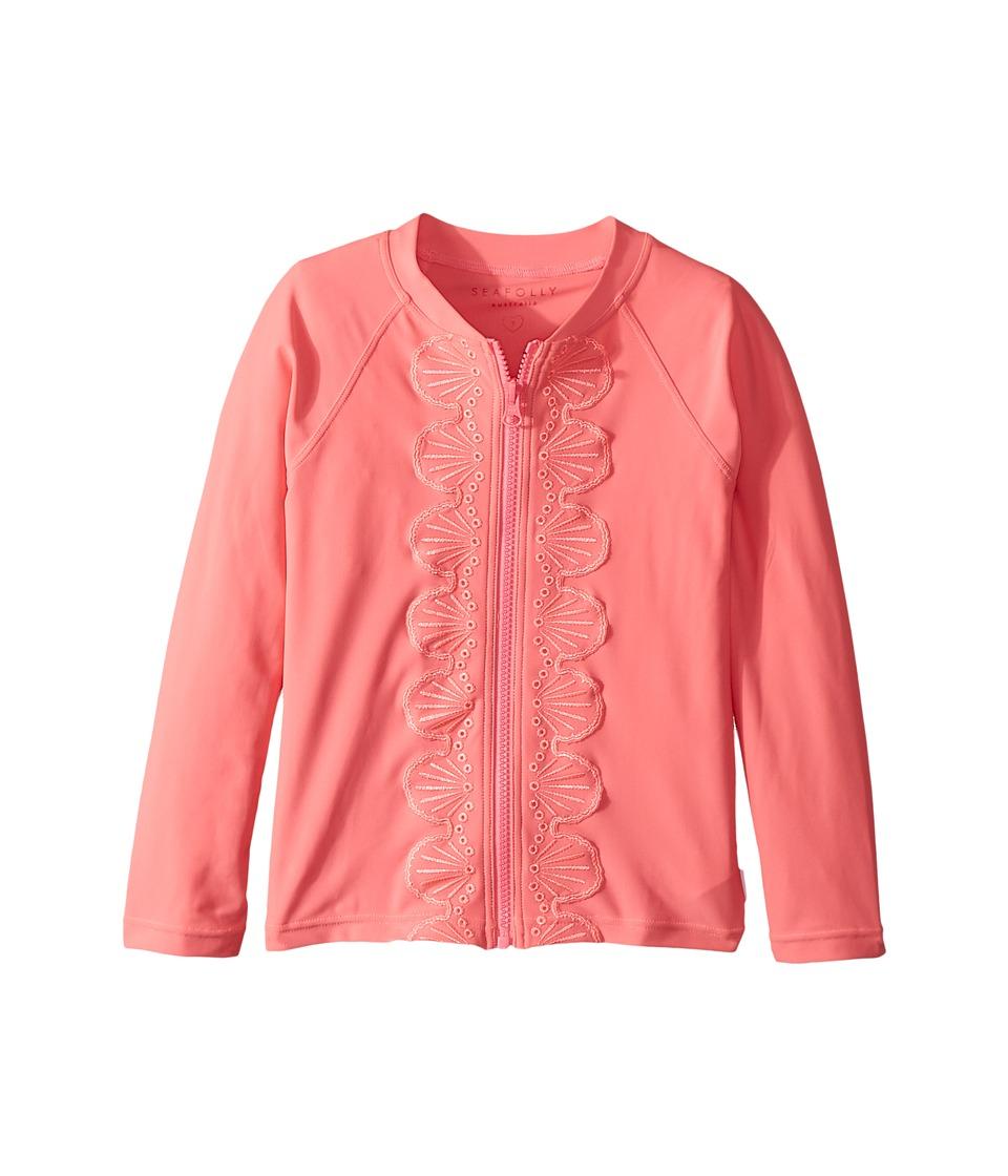 Seafolly Kids Sweet Summer Long Sleeve Zip Front Rashie (Infant/Toddler/Little Kids) (Rose Pink) Girl