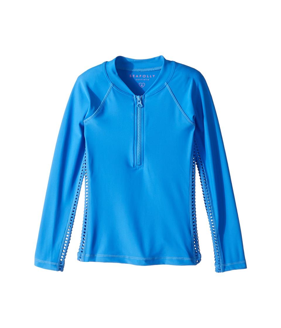 Seafolly Kids Sapphire Coast Long Sleeve Zip Rashie (Little Kids/Big Kids) (Hawaii Blue) Girl