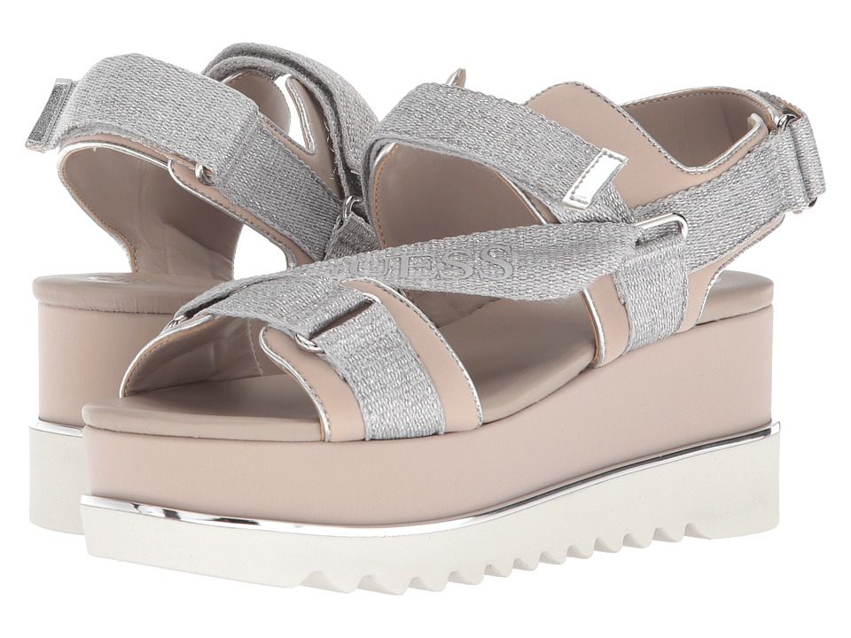 GUESS - Laureta (Silver Fabric) Womens Wedge Shoes