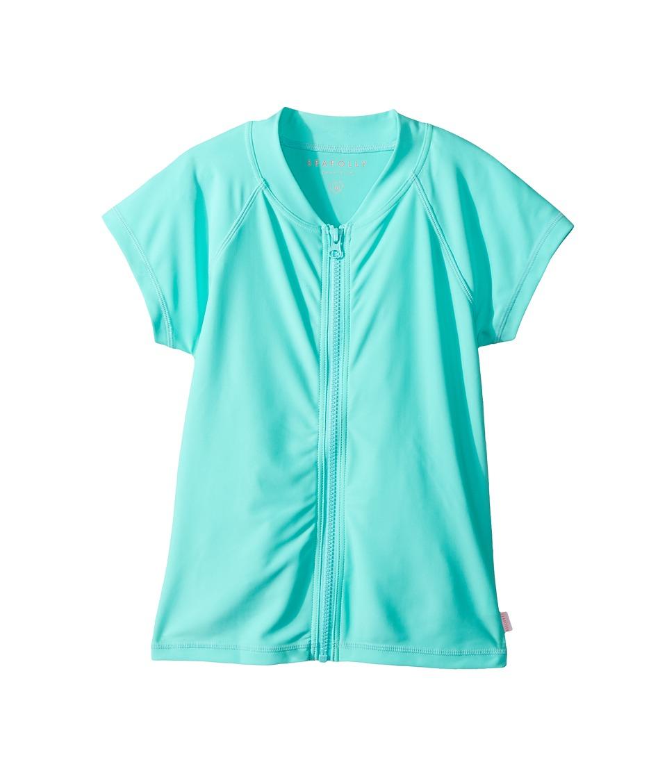 Seafolly Kids Summer Essentials Short Sleeve Zip Front Rashie (Little Kids/Big Kids) (Bahama Blue) Girl