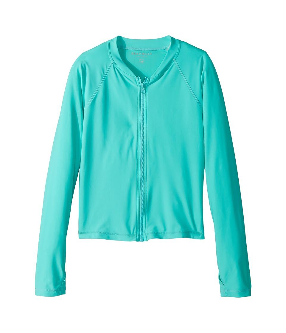 Seafolly Kids Summer Essentials Long Sleeve Zip Rashie (Little Kids/Big Kids) (Bahama Blue) Girl
