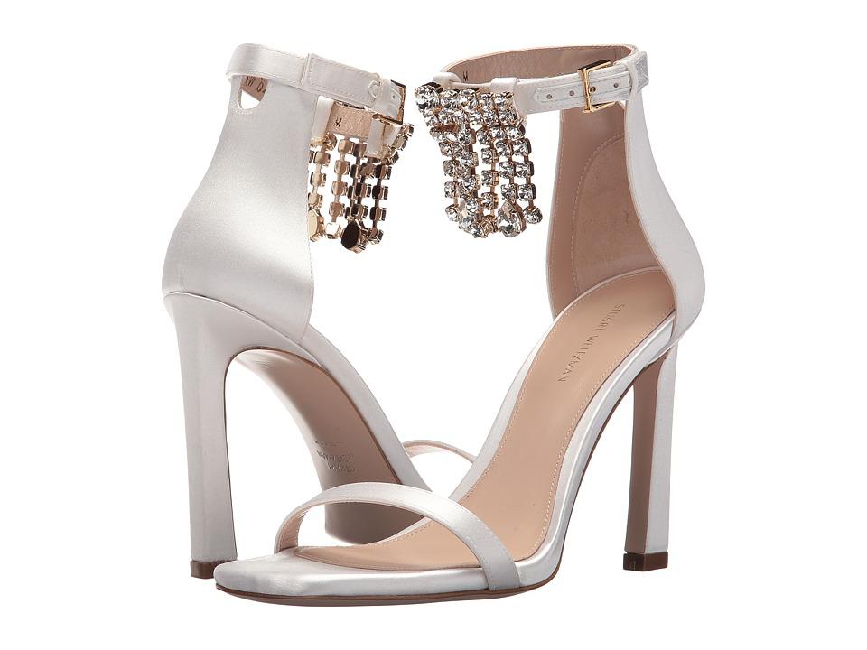 Stuart Weitzman 100fringesquarenudist (White Silk Satin) Women's Shoes