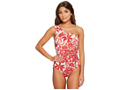 Red Carter Shanghai Shirred One Shoulder One-Piece