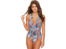 Red Carter Tahitian Tide Deep V Halter One-Piece