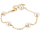 Majorica 8mm Round Pearls on A Sterling Silver 18K Gold Plated Bracelet 6/7