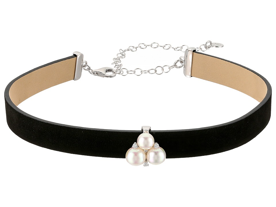 Majorica Pearl Black Choker (White) Necklace