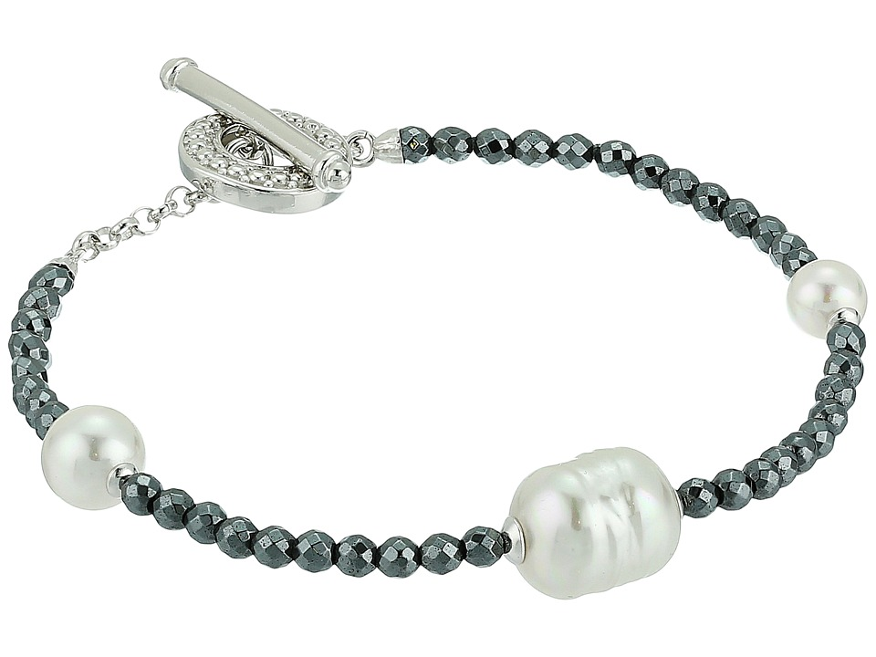 Majorica Baroque Pearl Hematite Bracelet (White) Bracelet
