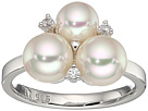 Majorica 6mm and 7mm Round Pearls with CZ Accents Sterling Silver Ring