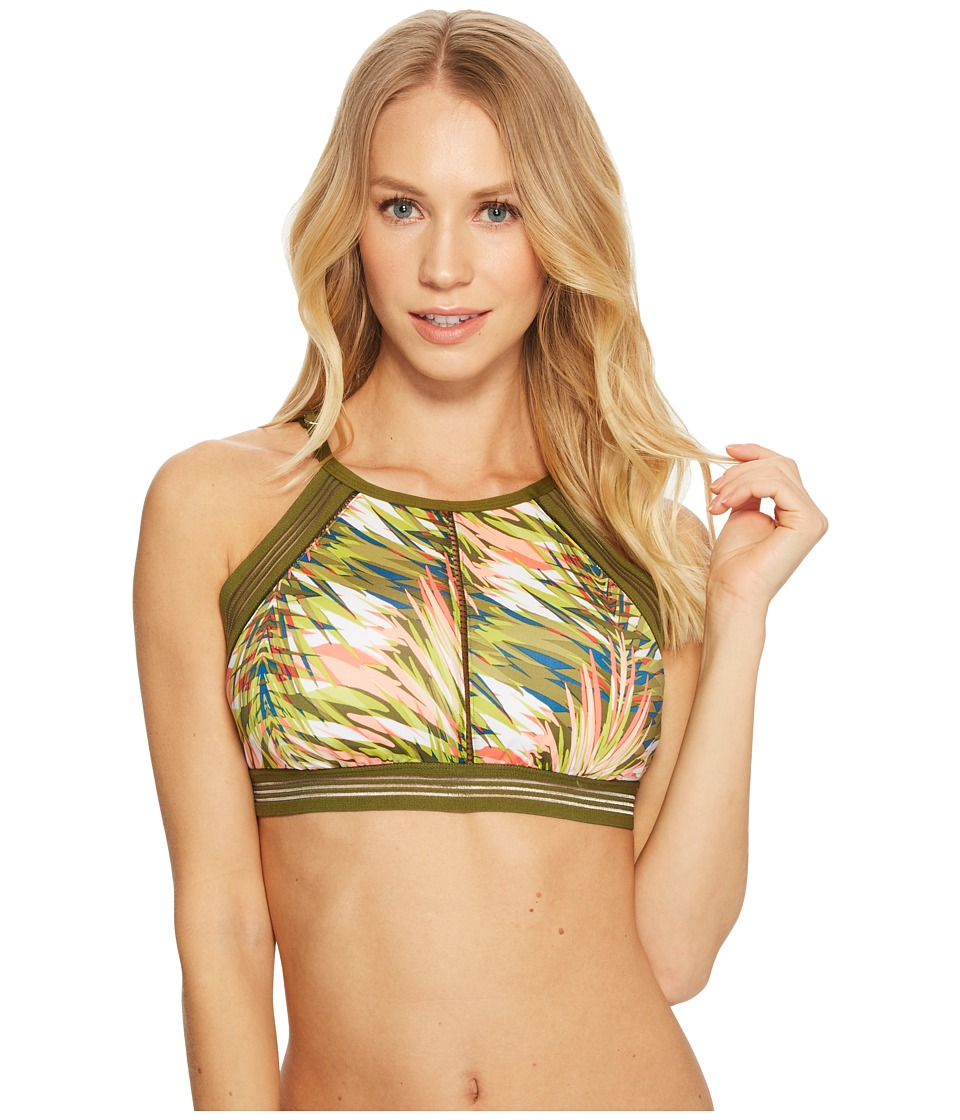 Jantzen Abstract Palm Leaf High Neck Bikini Top (Multi)