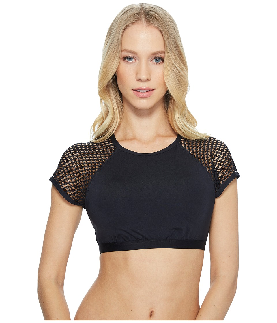 Jantzen Mesh Solids High Neck Crop Bikini Top (Black)