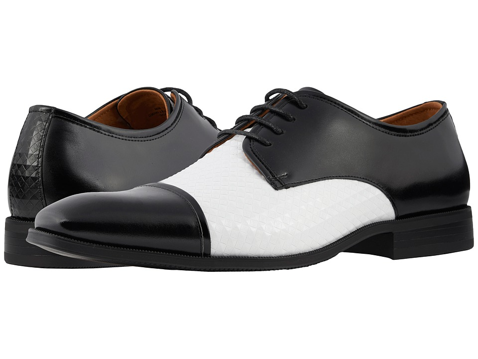 1960s Men's Clothing, 70s Men's Fashion Stacy Adams - Forte BlackWhite Mens Shoes $90.00 AT vintagedancer.com