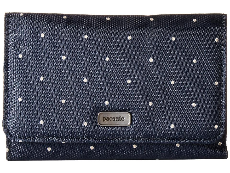 Pacsafe - Daysafe RFID Blocking Trifold Wallet (Navy Polka Dot) Wallet Handbags