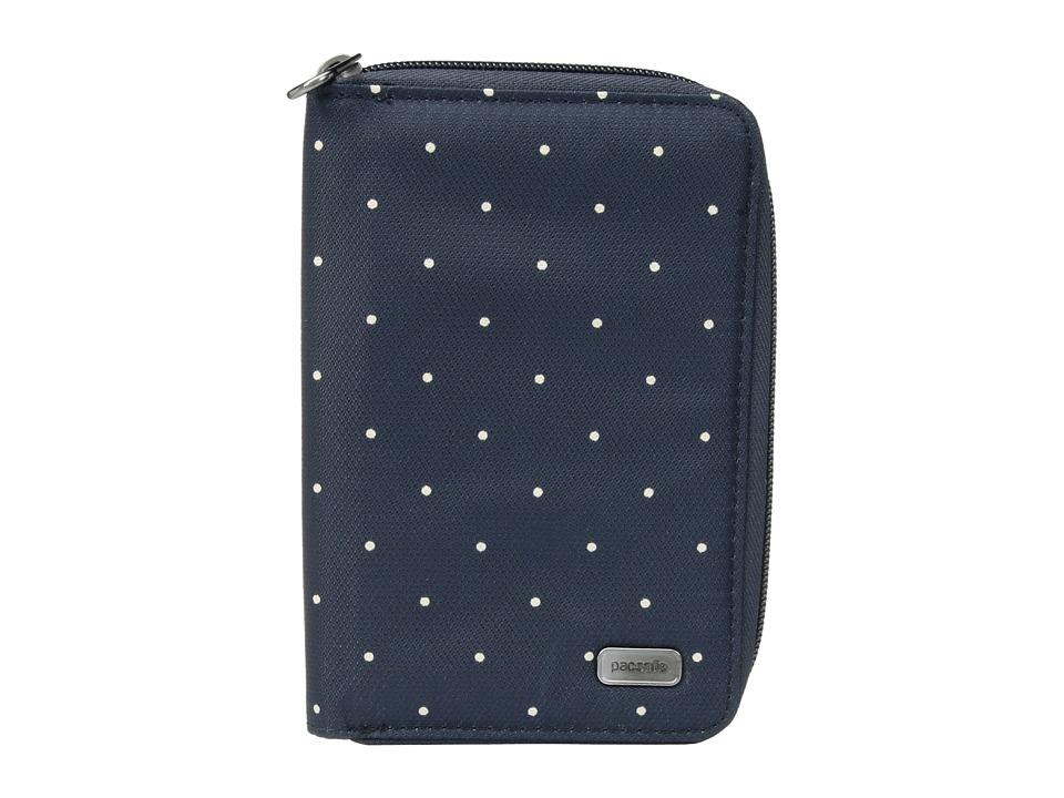 Pacsafe - Daysafe RFID Blocking Passport Wallet (Navy Polka Dot) Wallet Handbags