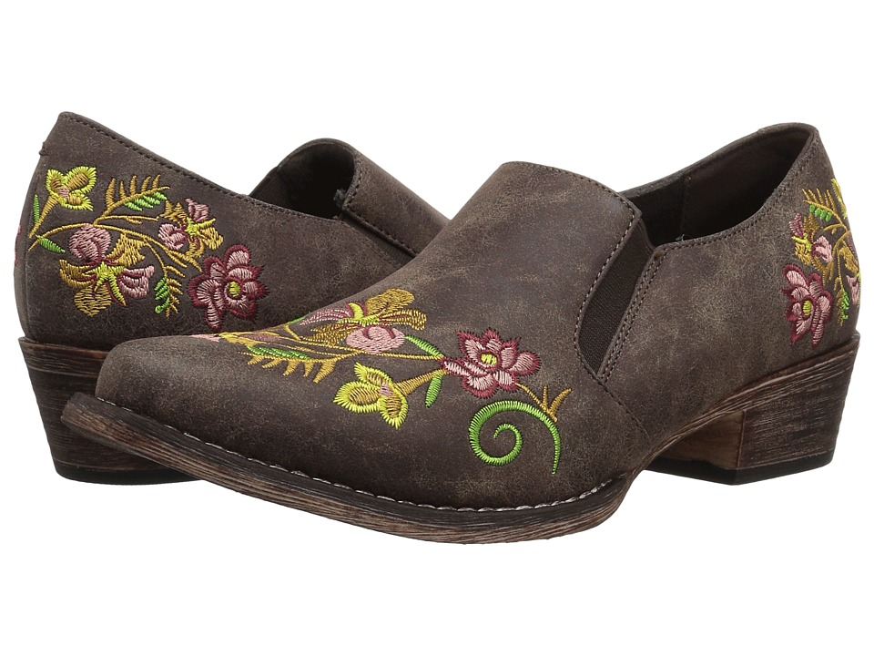 Roper Birkita (Vintage Brown Faux Leather w/ Embroidery) Slip-On Shoes