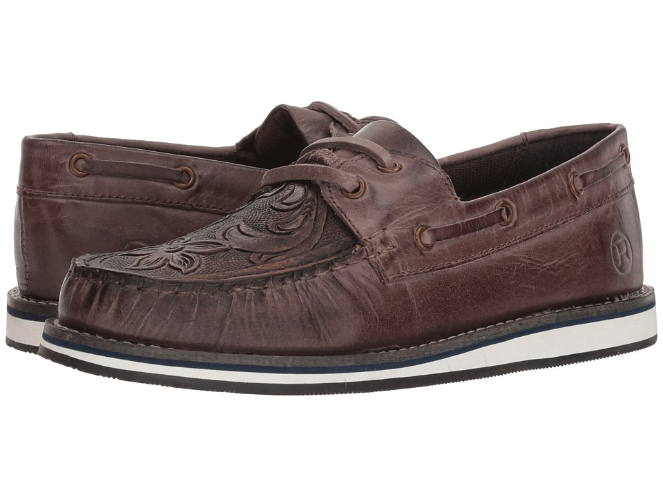 Roper Filly (Polished Brown Leather Handtooled Vamp) Slip-On Shoes