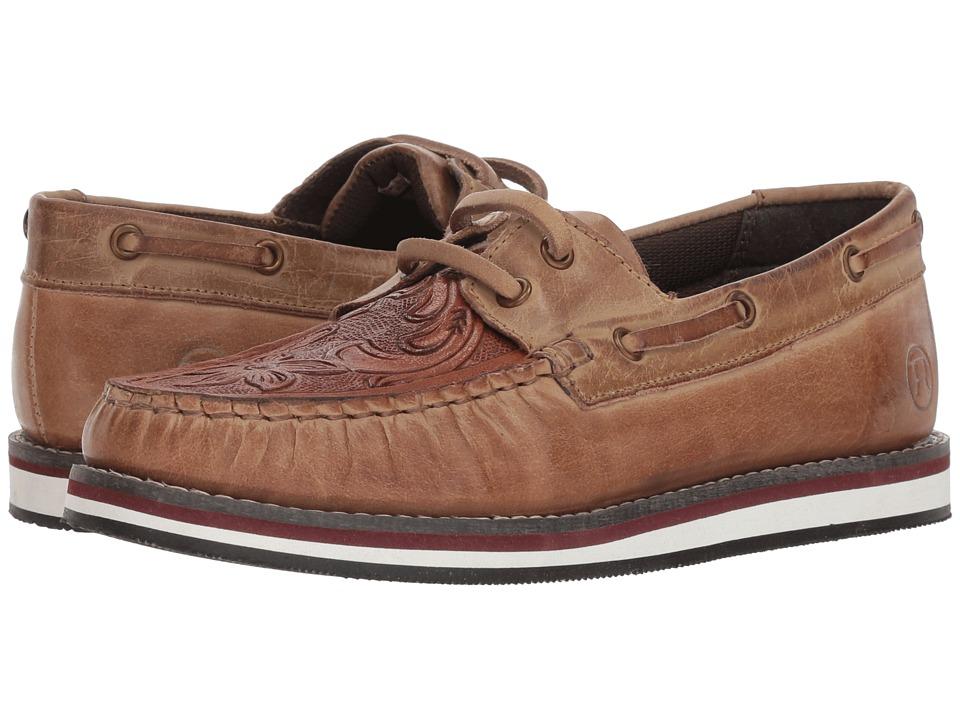 Roper Filly (Polished Tan Leather Handtooled Vamp) Slip-On Shoes