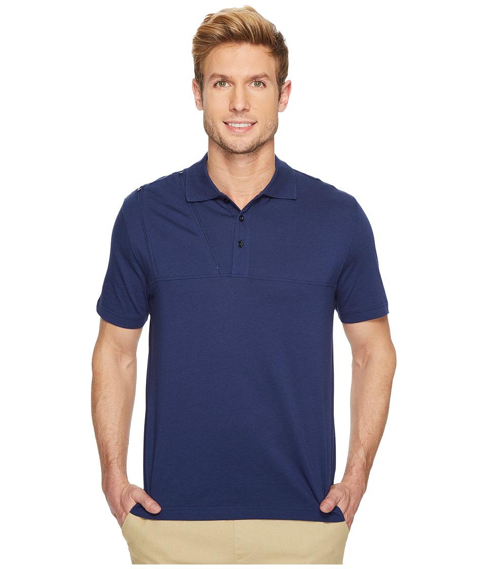 Care+Wear - Chest Access Polo Shirt (Navy Blue) Mens Short Sleeve Knit