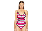 Proenza Schouler Striped Over the Shoulder One-Piece w/ Zip Front Detail