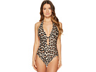 Kate Spade New York Crystal Cove #70 Scalloped Halter Plunge One-Piece w/ Removable Soft Cups
