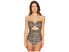 Kate Spade New York Crystal Cove #70 Scalloped Cut Out Bandeau One-Piece w/ Removable Soft Cups Strap