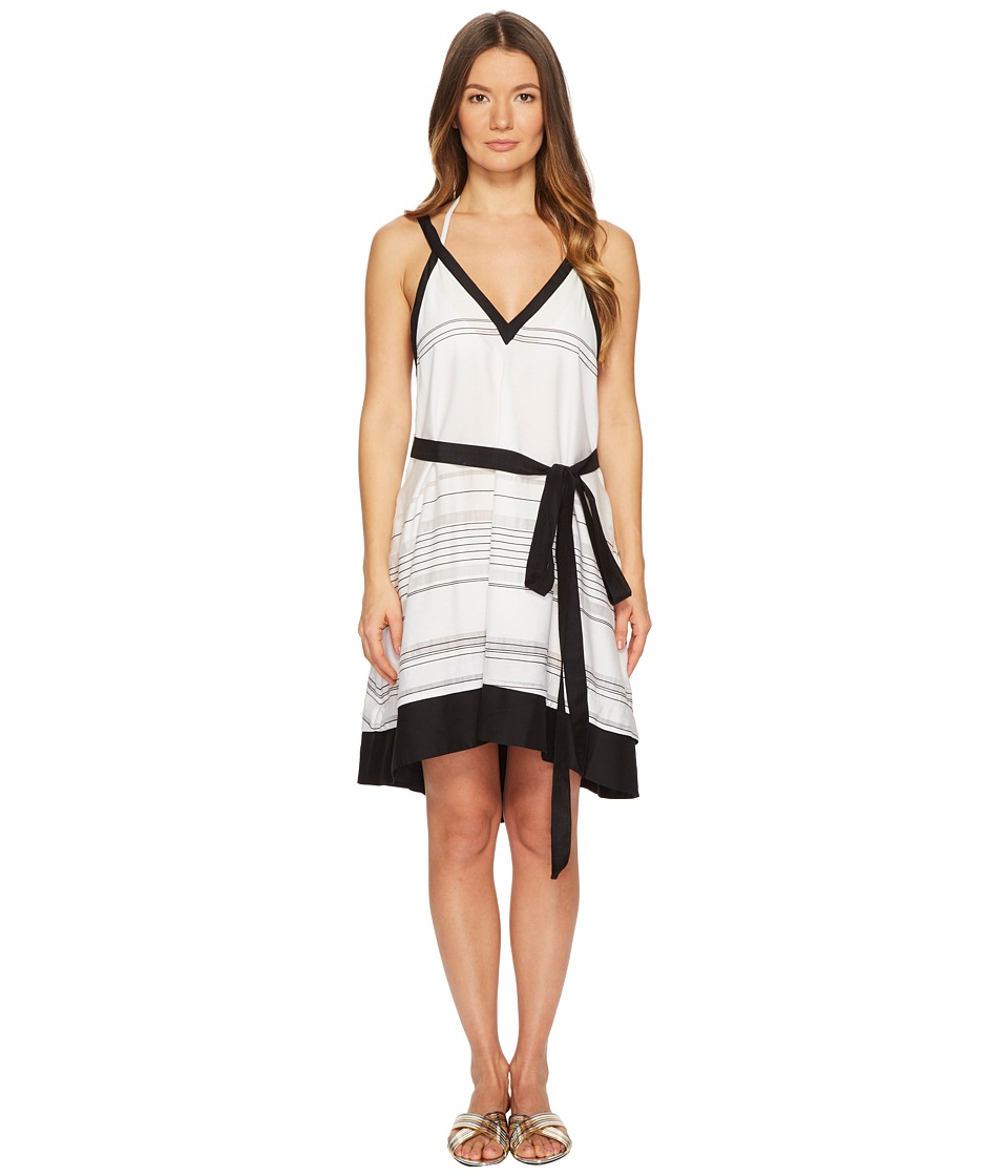Proenza Schouler Striped Thin Belted Cover-Up Sundress (Black/White)